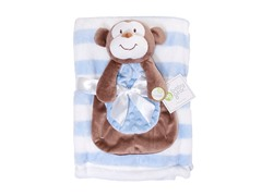 Blue & White Blanket Set w/ Monkey Doll