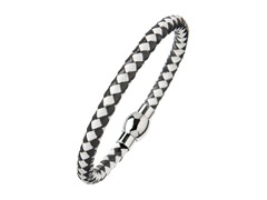 White & Black Leather Braided Bracelet