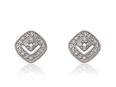 Riccova Retro Rhodium Plated CZ Square In Square Stud Earring