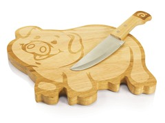 "Picnic Time 10"" Piggy Cutting Board with Knife"