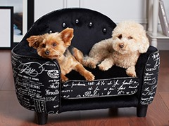 Ultra Plush Headboard French Script Pet Bed