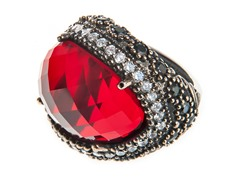 SS Oval Dyed Ruby Genuine Semi-Precious Gemstone CZ Ring
