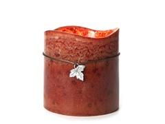 3 LED Mottled Wax Flameless Candle Orange-Brown 6x6