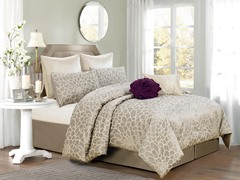 Emma 8Pc Comforter Set-Silver-Beige - 2 Sizes