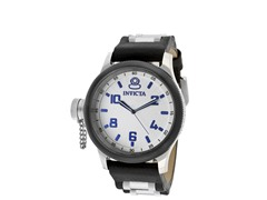 Men's Russian Diver Black Leather Watch