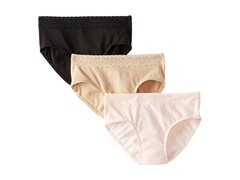 Hanes 3-Pk Cotton Hipster, Pink/Black/Nude