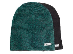 Reversible Beanie, Black-Green Heather