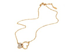 Gold/White Swarovski Elements Twin Hearts Necklace