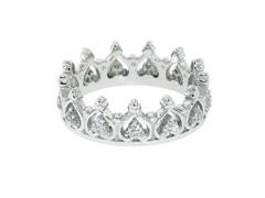 Sterling Silver Pave Elizabeth Crown Ring