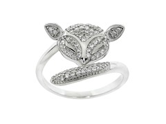 Sterling Silver Pave Fox Ring