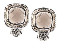 18kt Gold Square Smokey Quartz Earrings