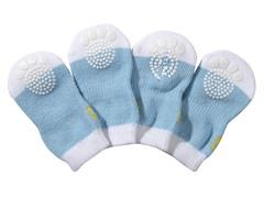 Blue & White Dog Socks - Rubberized