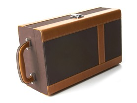 Dark Brown and Camel Leather Wine Box
