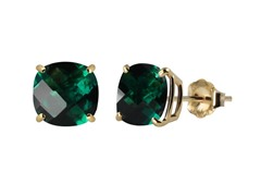 10K YG Stud Earrings, Created Emerald