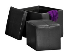 Faux Leather Cube Storage Ottoman - Black