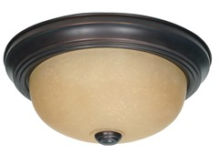 "2-Light 11"" Flush Mount, Mahogany Bronze"