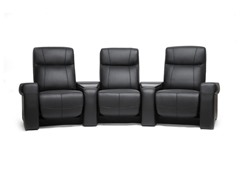 3 Seat Spotlight Black Leather Home Theater Seats