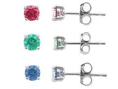 SS 3pc Earring Set, Green/Red/Blue