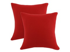 Fleece Red Soft 17x17 Pillows-S/2