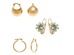 Gold Green & Clear Crystal Set of 3 Flower Drop & Hoop Earrings