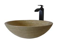Stone Vessel Sink w/ Faucet, Bronze