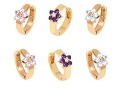 Gold Aqua, Pink, & Purple Crystal Flower Set of 3 Huggie Earrings