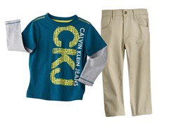 Logo Long Sleeve Top & Khaki Pant (2T-7)
