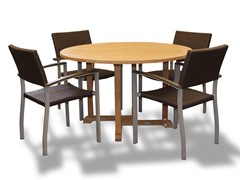48-Inch Table, 4 Silver Armchairs