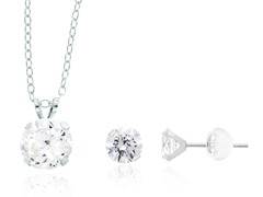 10k White Gold Swarovski Zirconia Martini Set