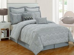 Veyra Chevron 8Pc Comforter Set-Silver-2 Sizes