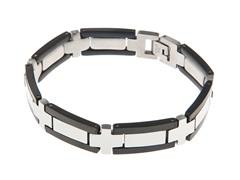 Black/Steel Stainless Steel Link Bracelet