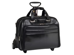 "Midway Leather FlyThru™ 17"" Wheeled Laptop Case"