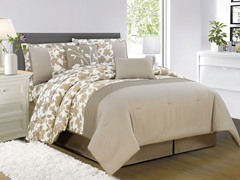 Leila 10Pc Comforter Set-Taupe-2 sizes