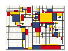 Mondrian World Map 18x24 Canvas