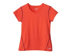 Girls Heathered Tee - Fiery Coral