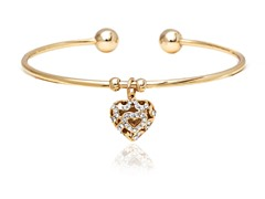 GoldWhite Swarovski Elements Filigree Heart Charm Bangle