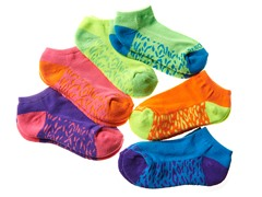 6pk Girls Socks - Bright 2 Tone (5-11)