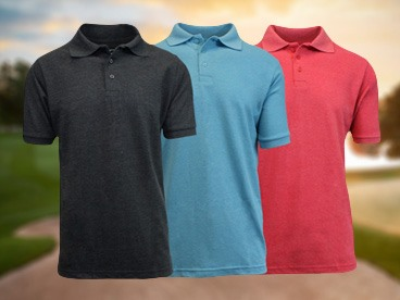 Galaxy by Harvic 3 pack Heathered Polo