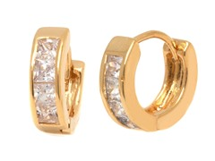 18k GP Pincess Cut Clear Crystal Huggie