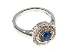 Silver & 14k Gold Sapphire Ring