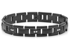 Stainless Steel Black IP Bracelet w/ CZ