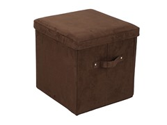 Folding Storage Ottoman- Brown