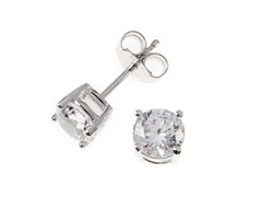 Sterling Silver, 6 mm White CZ Earrings