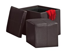 Faux Leather Cube Storage Ottoman - Brown