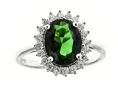 SS Micropave Green Oval-Cut CZ Star Burst Ring