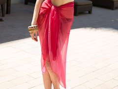 Ombre Sheer Sarong Hot Pink