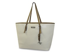"15"" East West Laptop Tote - White/Gold"