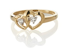 Edgewater Double Heart Diamond Gold Plated Ring