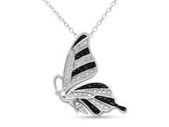 B&W Diamond Butterfly Necklace