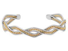 Two-Tone Cuff Bracelet w/ Wire Accent